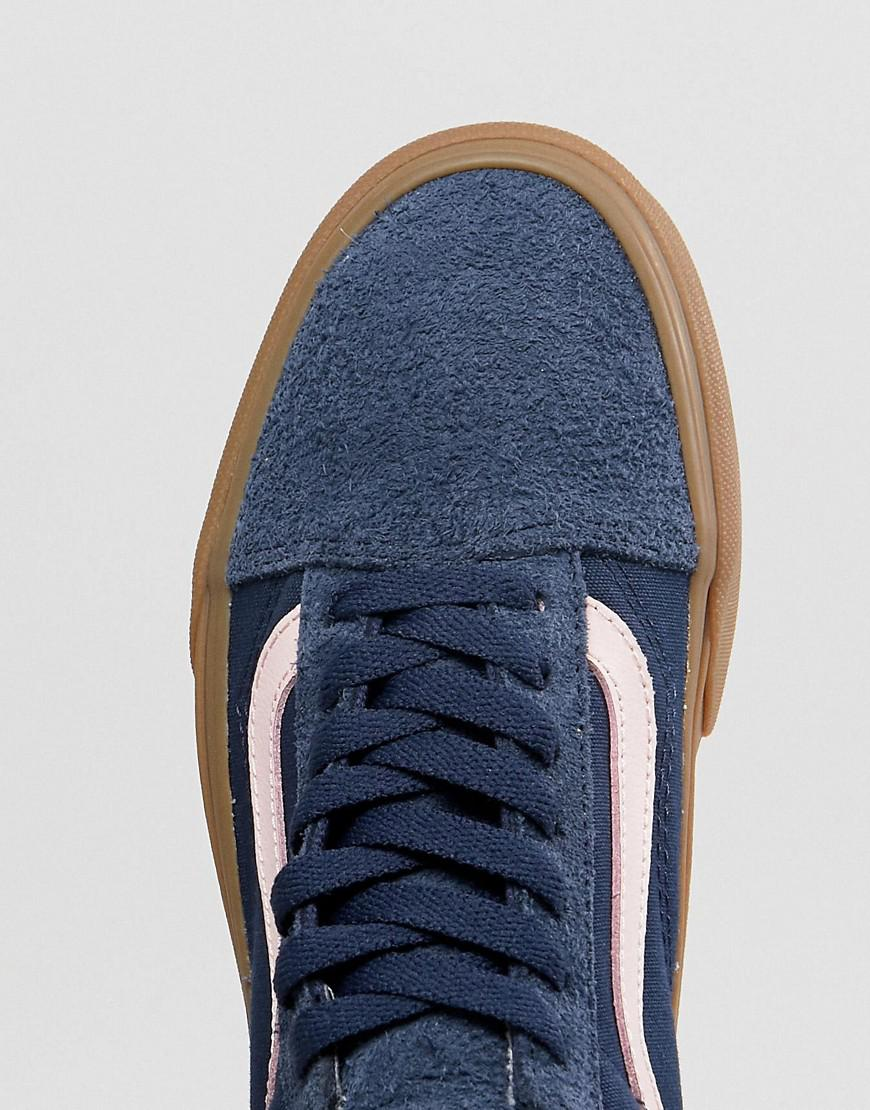 95ef8d81766 Vans Old Skool Unisex Trainers In Blue Fuzzy Suede With Gum Sole in ...