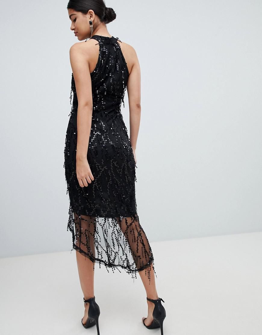 089dfa50 AX Paris Racer Neck Midi Dress With Fringed Sequin Detail in Black - Lyst