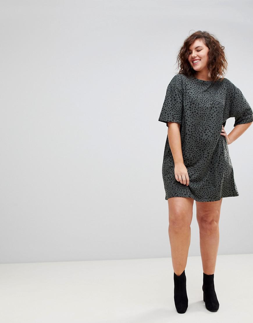 ASOS DESIGN Curve ultimate t-shirt dress in leopard print - Multi Asos Curve llcUWUa