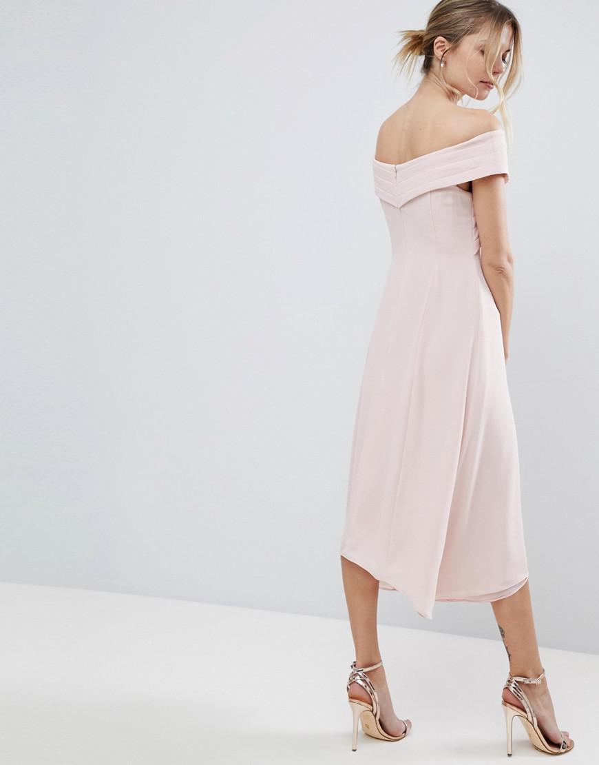 55ca37d89e1d Coast Ela Soft Midi Bardot Bridesmaids Dress in Pink - Lyst
