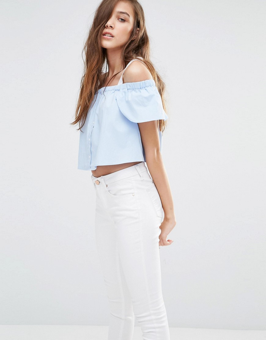 fc84287f27b8e2 Lyst - Pull Bear Pull And Bear Off The Shoulder Top - Sky Blue in Blue