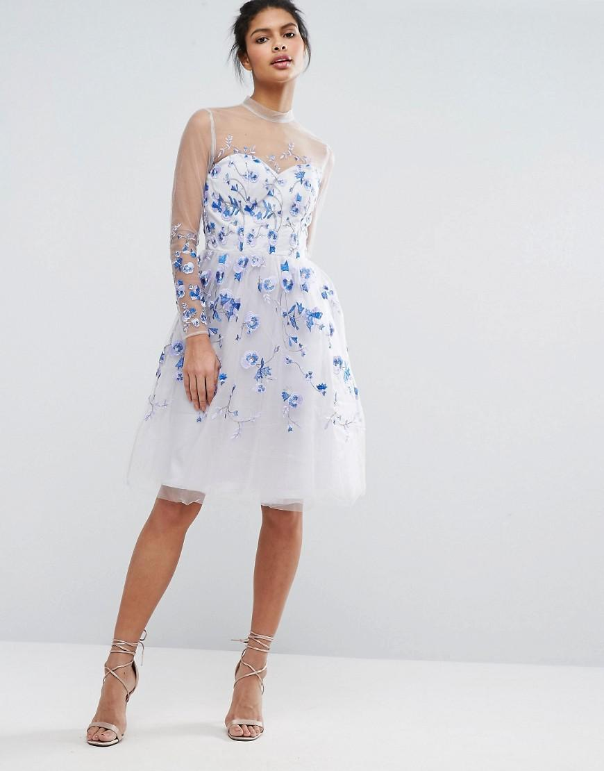 Lyst Chi Chi London Tulle Midi Dress With Longsleeves
