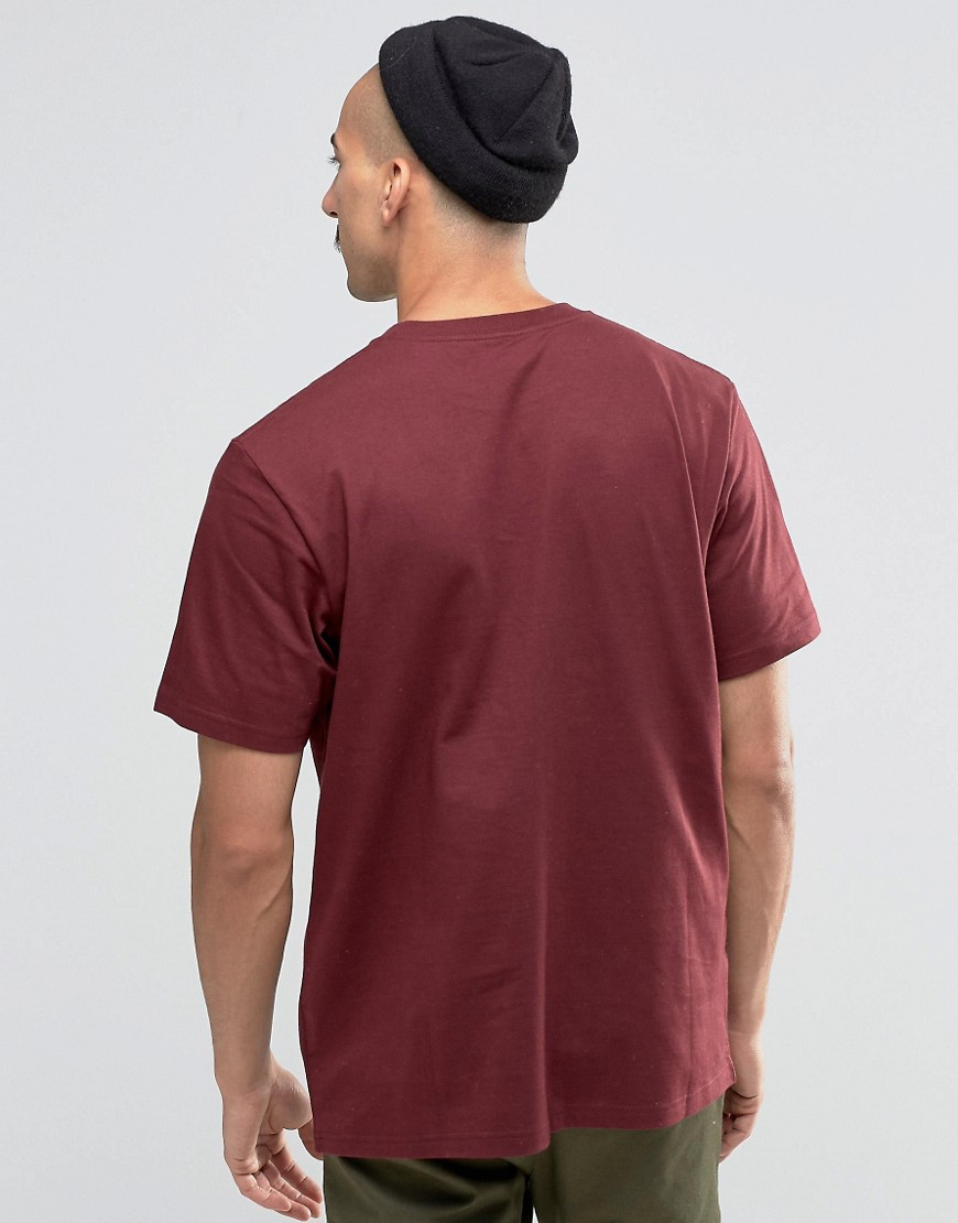 Carhartt wip chase t shirt burgundy in red for men lyst for Carhartt burgundy t shirt