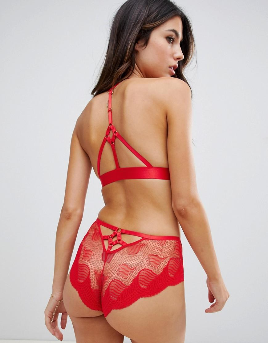 3be6add372 Lyst - ASOS Asos Design Kirsten Deco Lace Triangle Bra in Red