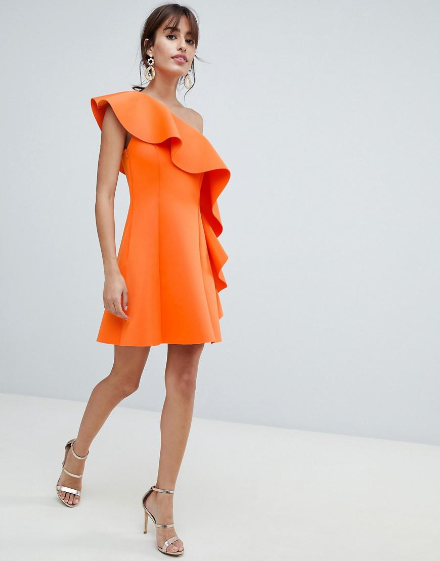 24d6e809cf2 ASOS One Shoulder Ruffle A-line Mini Dress in Orange - Lyst