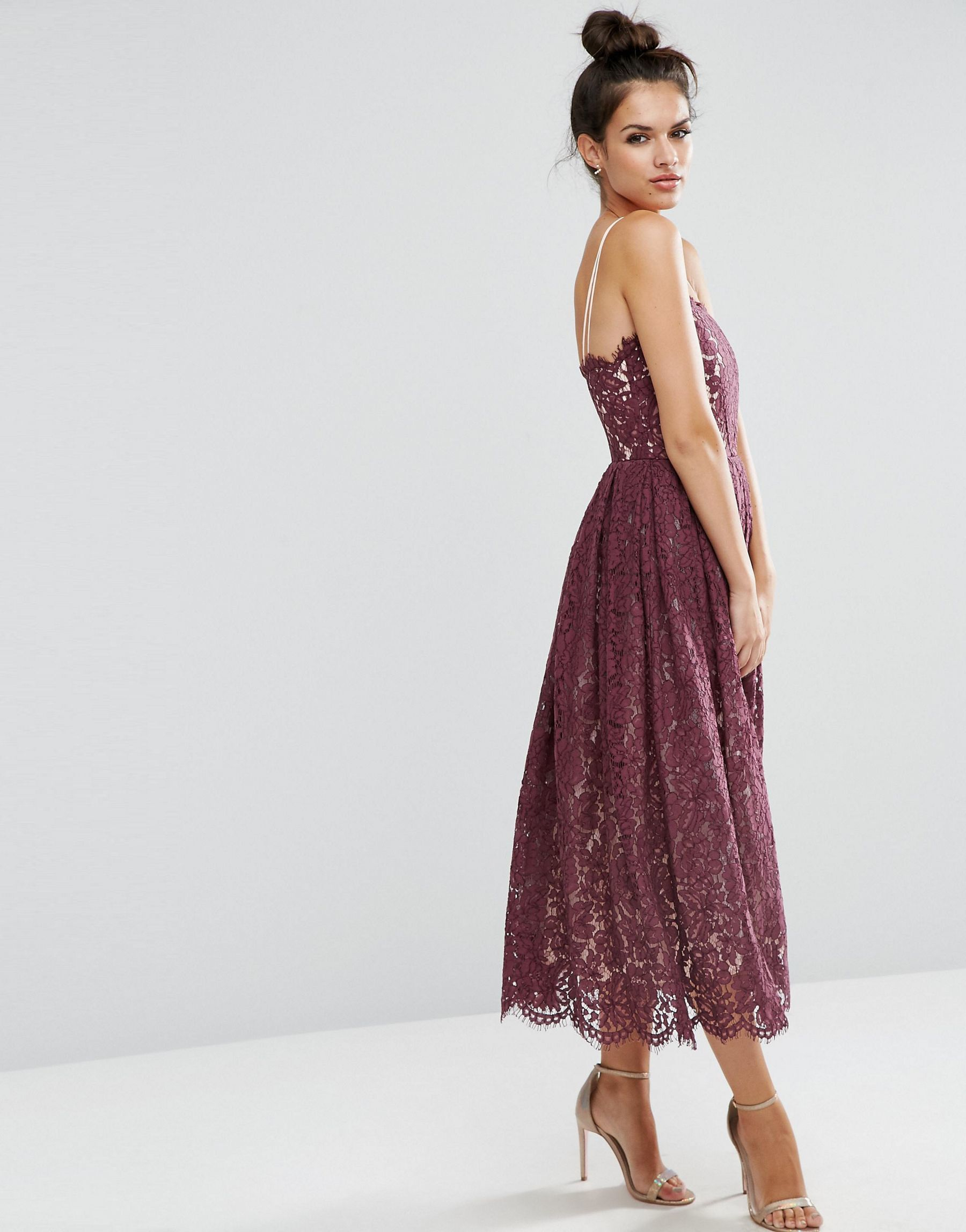 db4d9f609ed ASOS Delicate Lace Bandeau Prom Dress in Purple - Lyst