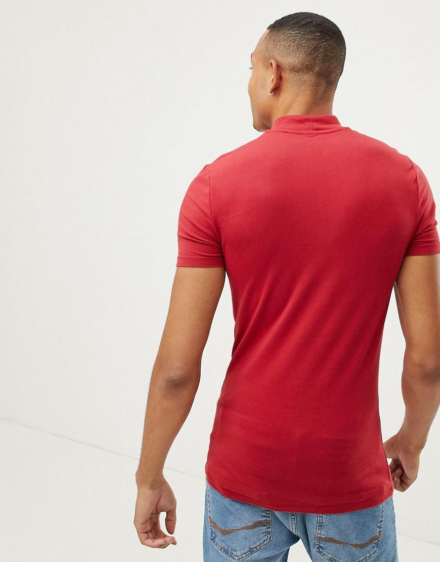 591fa0e8 ASOS Tall Muscle Fit Turtle Neck T-shirt With Stretch In Red in Red for Men  - Lyst