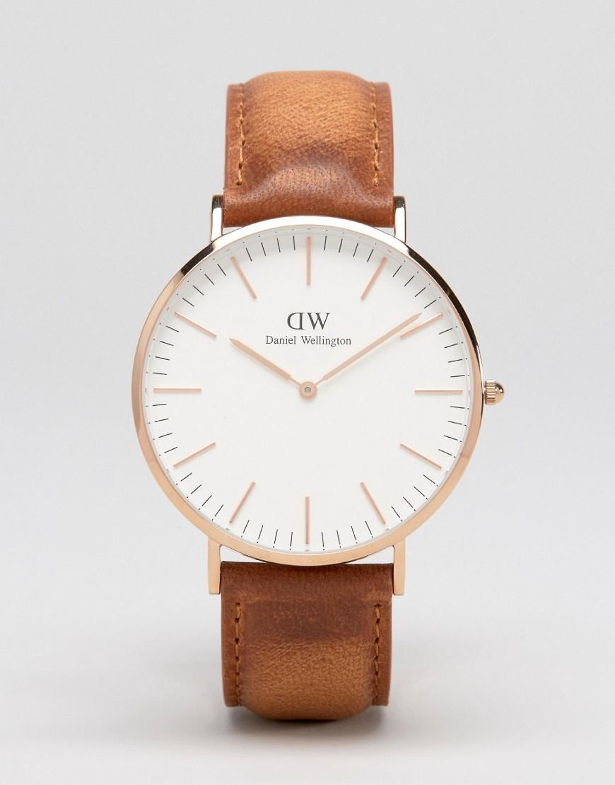 Daniel wellington Durham 40mm Leather Watch In Rose Gold ...
