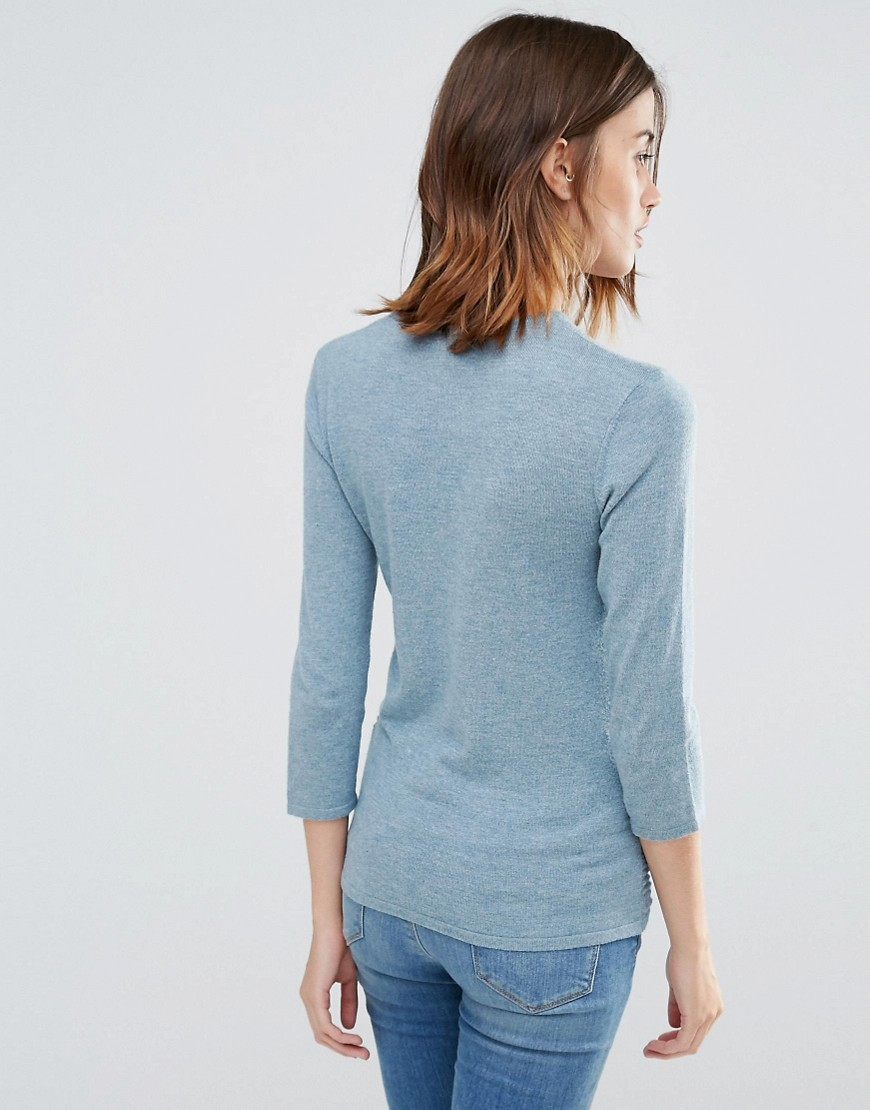 Knitting Warehouse Uk : Warehouse textured knit jumper in blue lyst