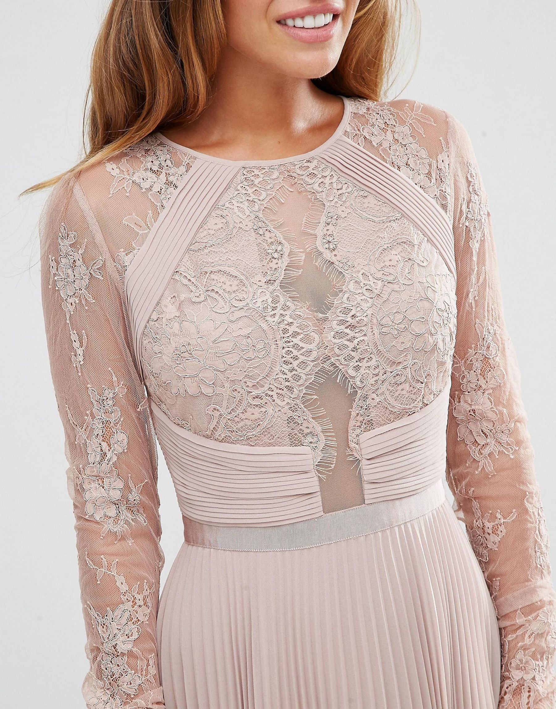 518620fe37da Lyst - ASOS Petite Wedding Pretty Lace Eyelash Pleated Midi Dress in ...