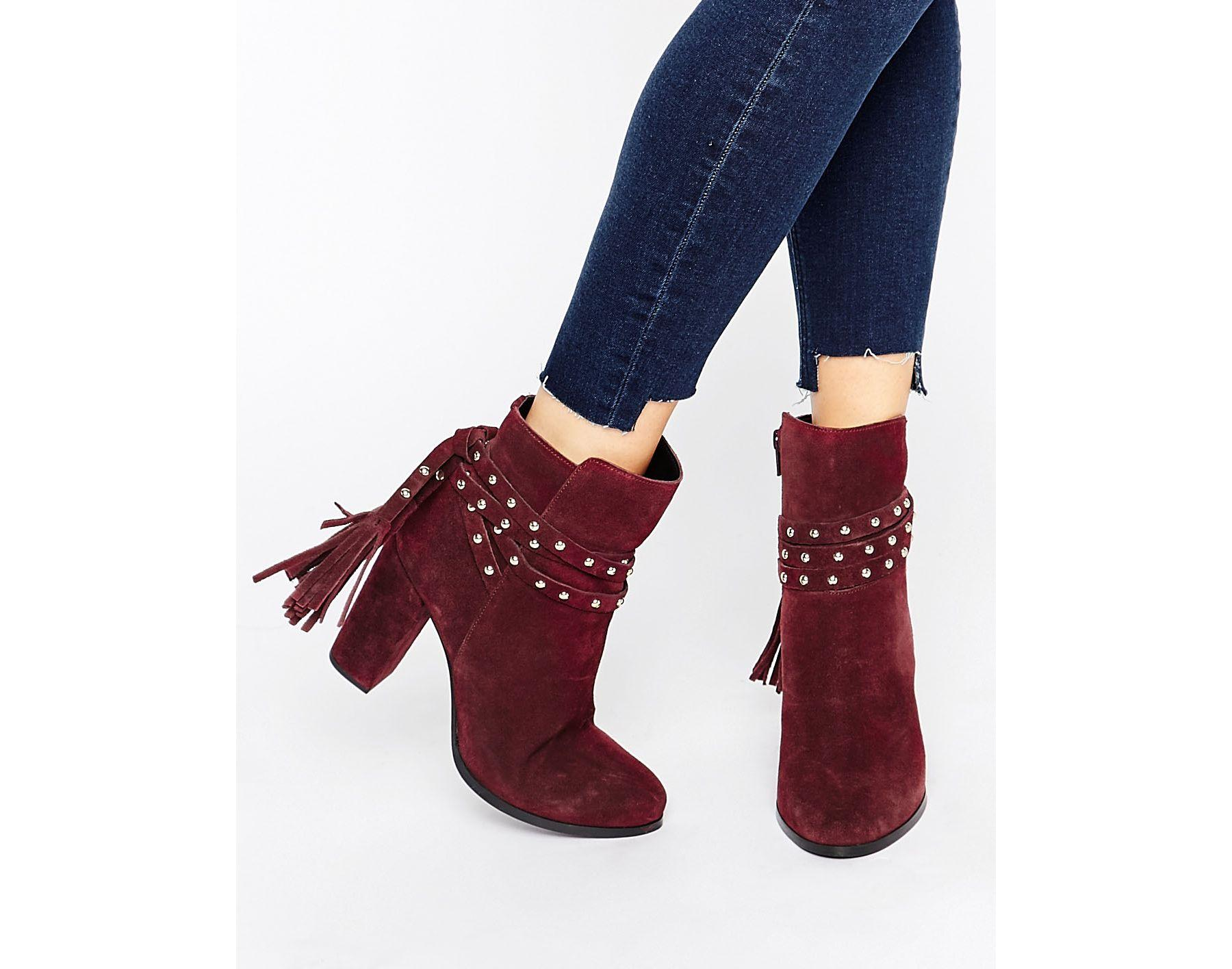 Faith Bethany Tie Back Heeled Ankle Boots In Red Lyst
