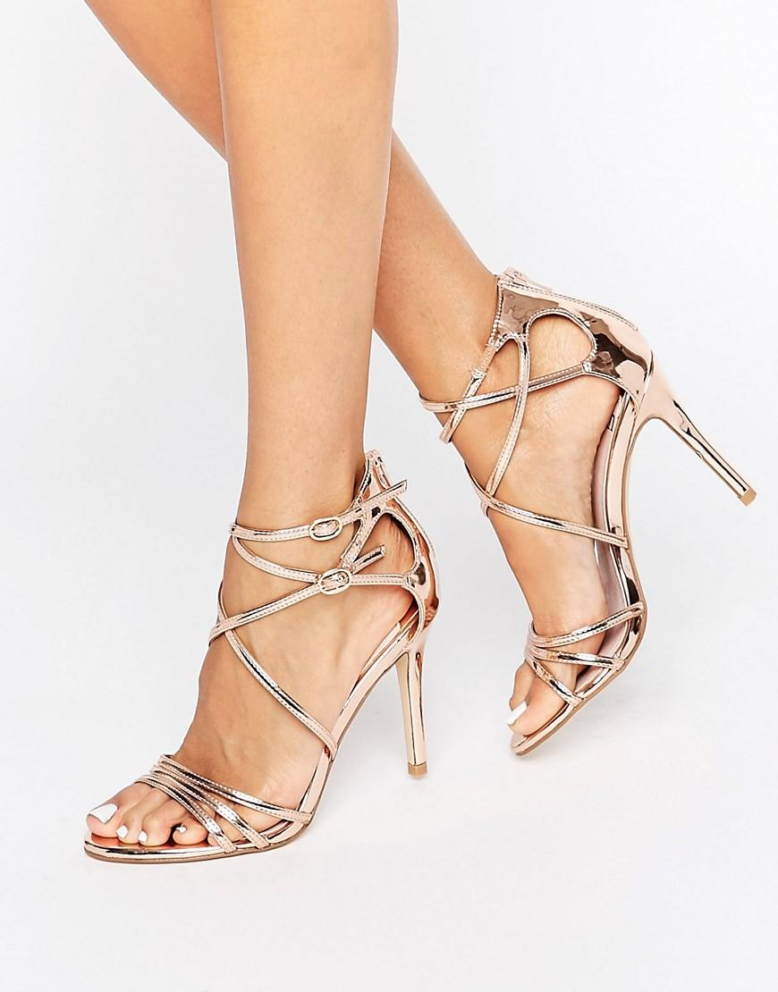387b7964c88 Faith Lizzie Rose Gold Strappy Heeled Sandals in Metallic - Lyst