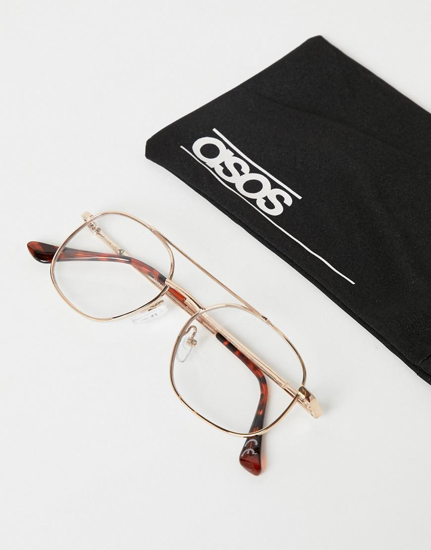 6140ab389780e Asos Navigator Glasses In Gold With Clear Lens in Metallic for Men - Lyst