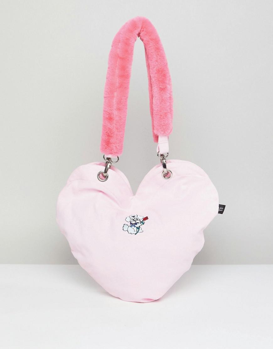 Dog Heart Tote Bag With Faux Fur Handle - Pink Lazy Oaf O7lR9KTi