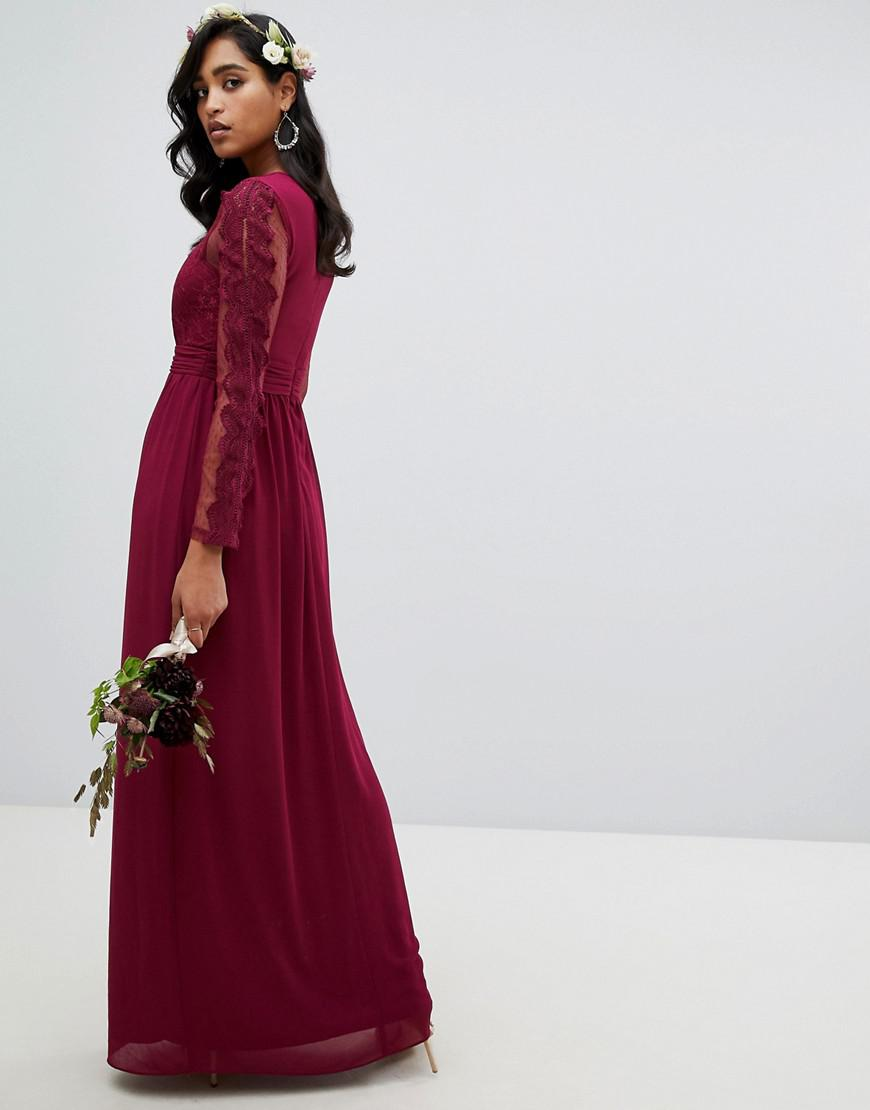 0abdc1aee685 Lyst - TFNC London Lace Detail Bridesmaid Maxi Dress In Burgundy in Red