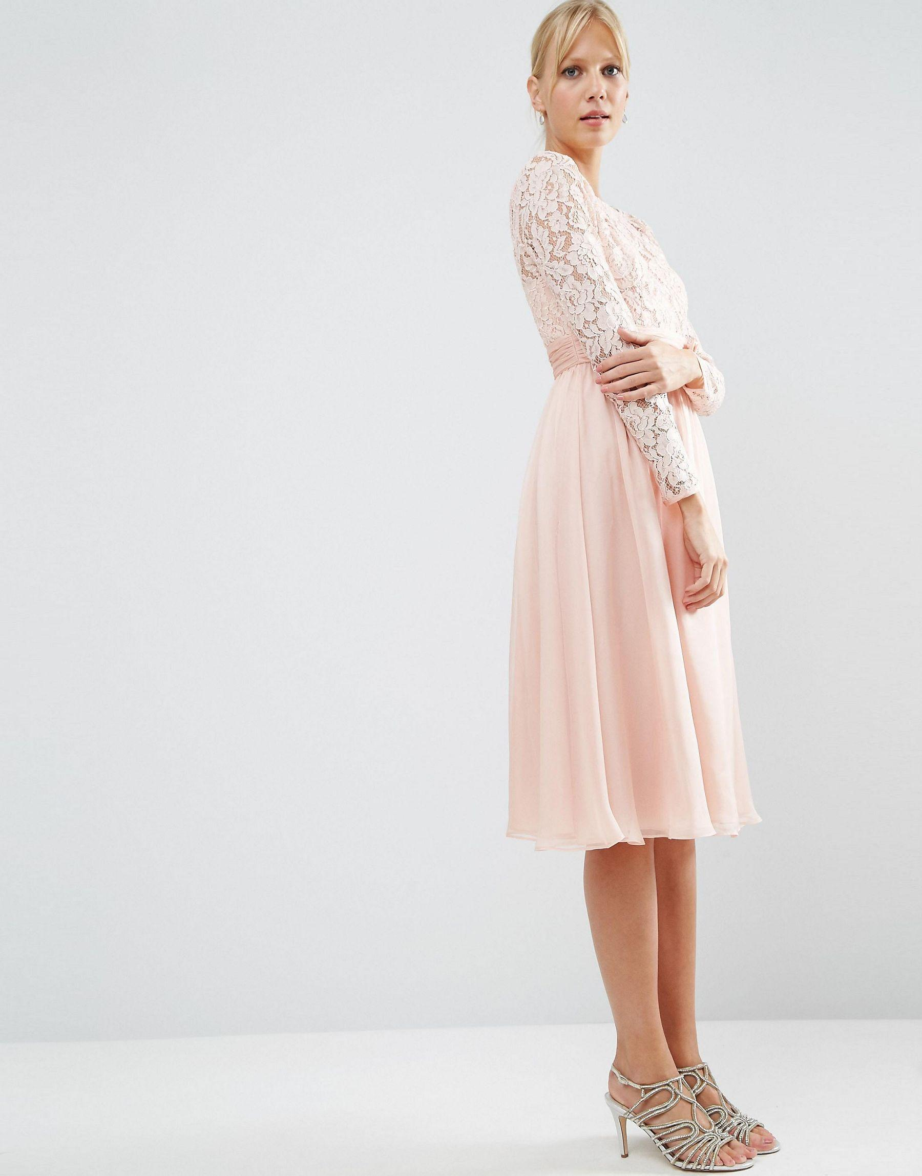 Asos wedding embellished floral drape back pencil midi dress - Asos Pink Wedding Midi Dress With Lace And Bow Detail Lyst View Fullscreen