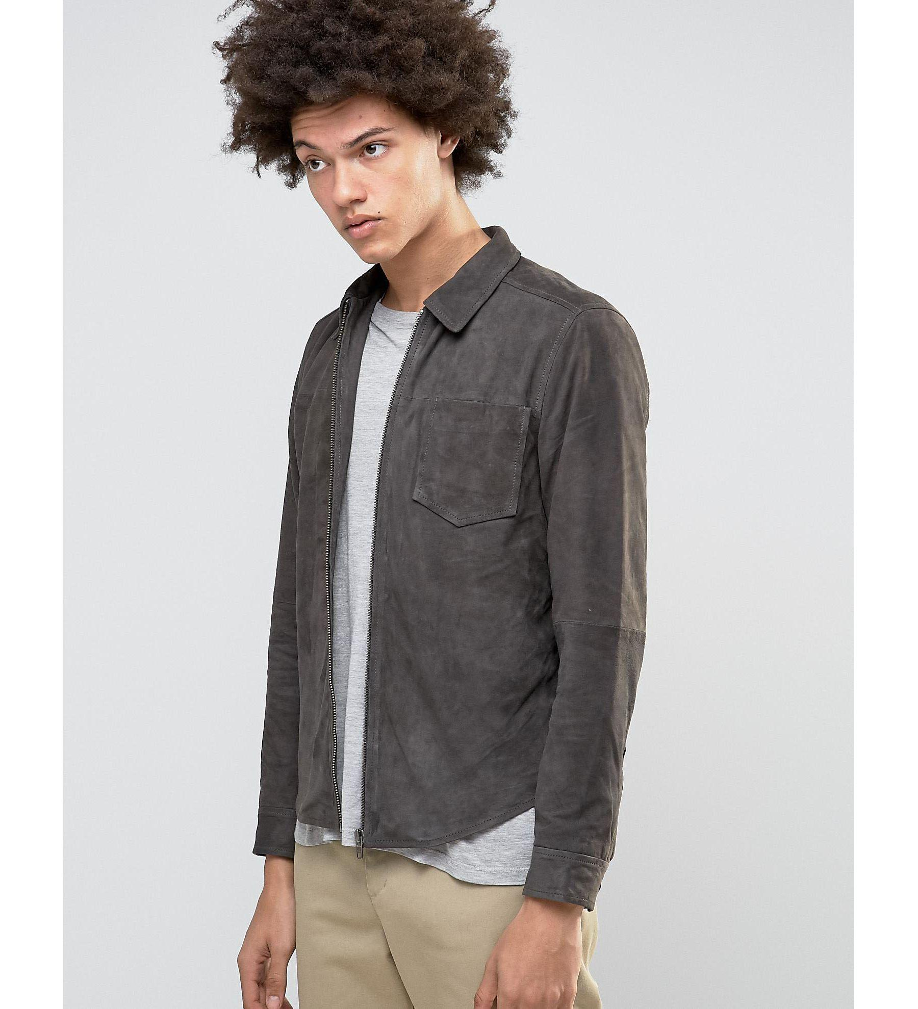 Selected Suede Shirt Jacket In Gray For Men Lyst