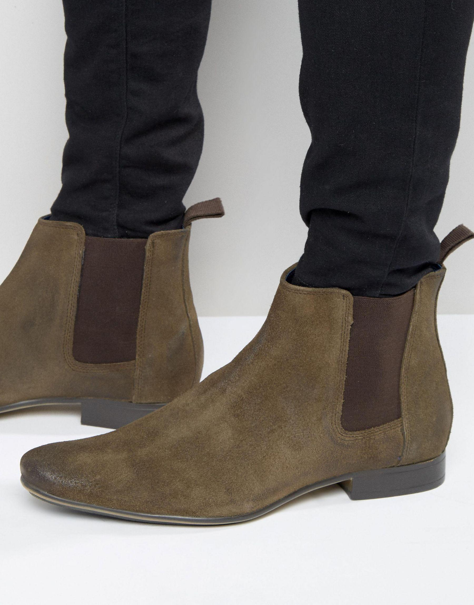 frank wright chelsea boots in brown leather in brown for