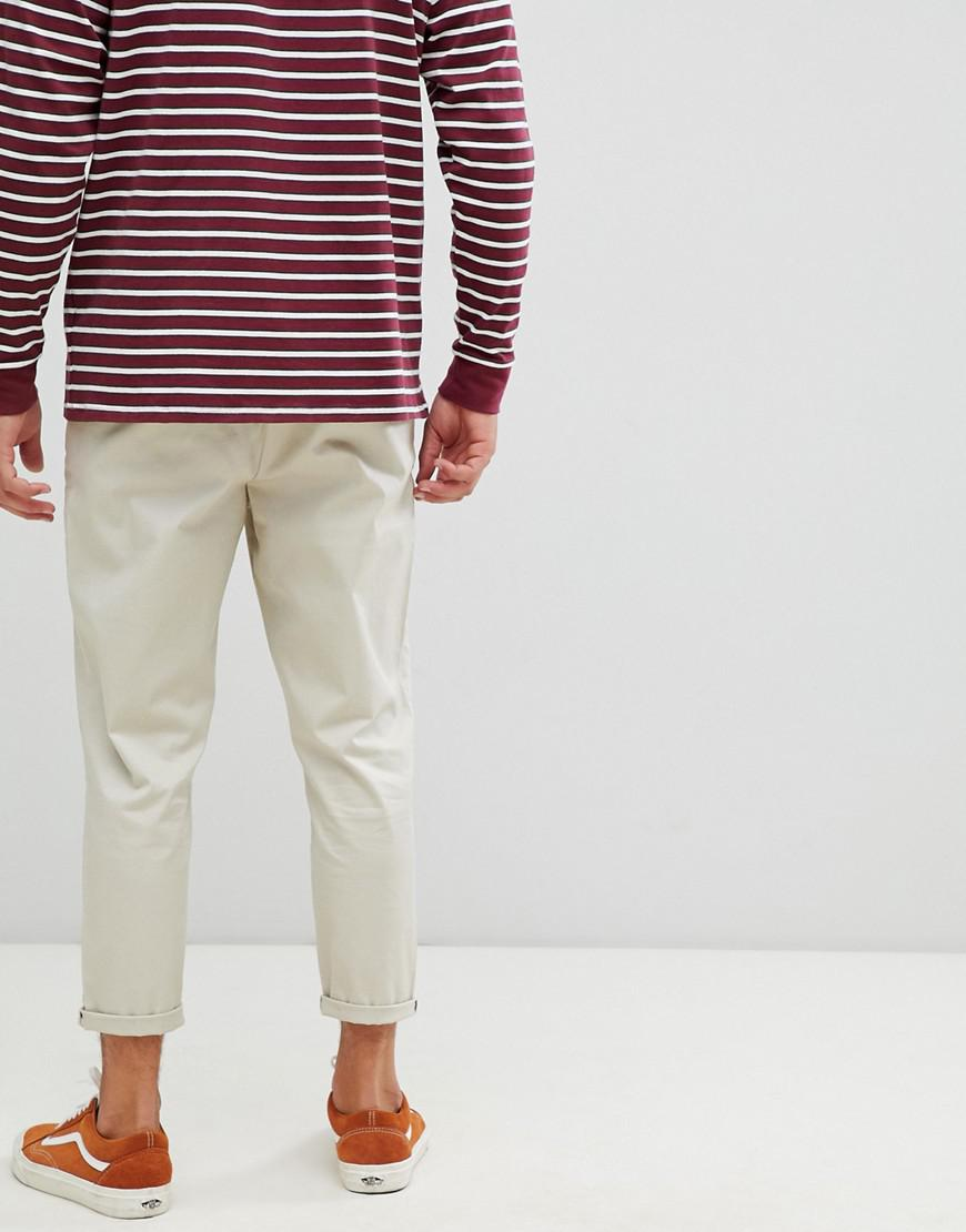 23a59351466f3d ASOS Tapered Cropped Chinos In Beige in Natural for Men - Lyst