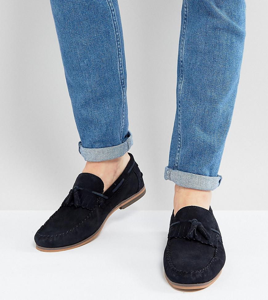daf29e1152b ASOS. Men s Blue Asos Wide Fit Tassel Loafers In Navy Suede With Fringe And Natural  Sole