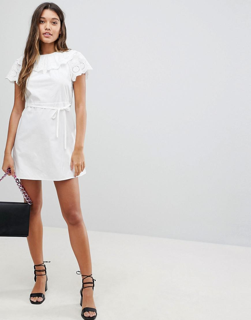 21e8684ed9 Fashion Union Dress With Broderie Collar And Sleeves in White - Lyst