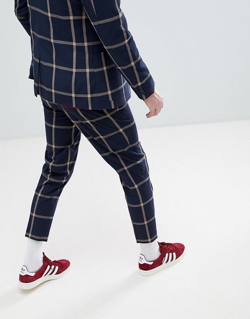 Lyst - Pantalon de costume court slim en crpon de coton gros carreaux ASOS  pour homme en coloris Bleu 0ca2a7ee007