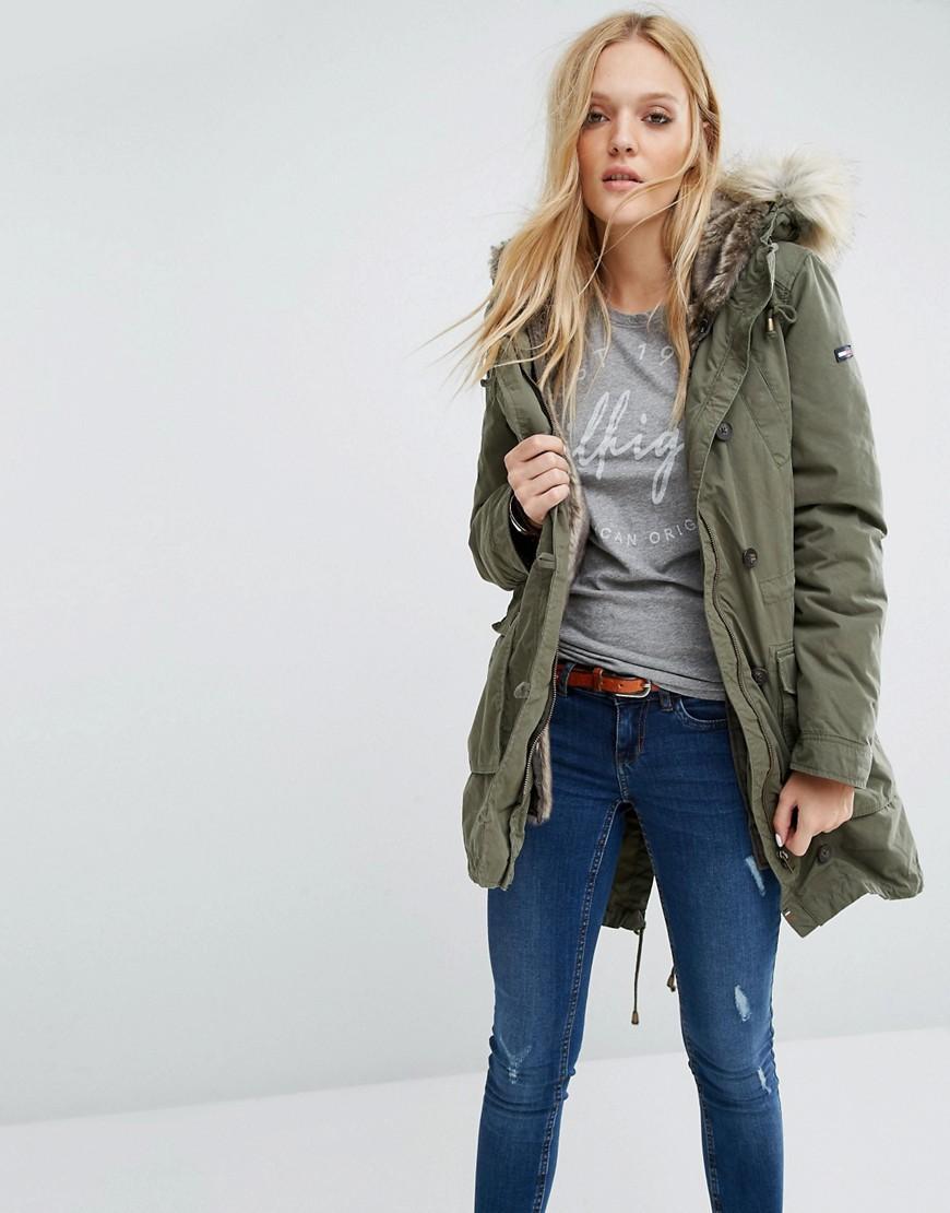 Hilfiger Denim Parka Jacket With Faux Fur Lining in Green - Lyst 92159f1b4d
