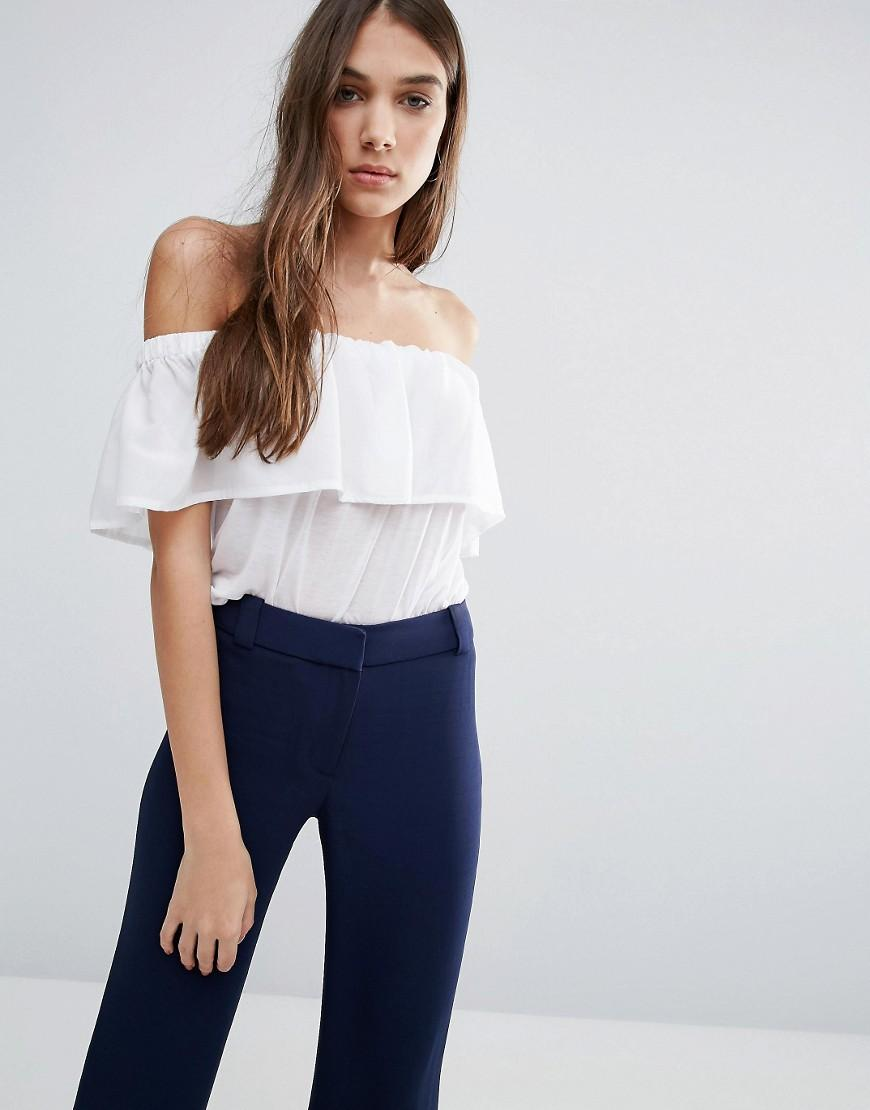 French connection Polly Plains Bardot Top in White