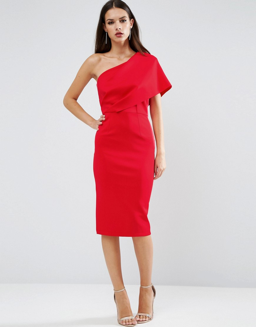 Asos one shoulder scuba deep fold midi dress with exposed for Red midi dress wedding guest