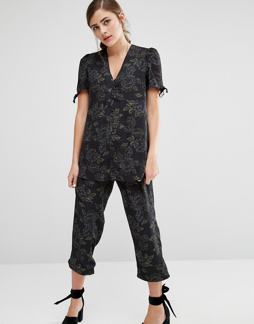 Fashion Union Women S Black Pyjama Shirt In Tonal Floral Co Ord