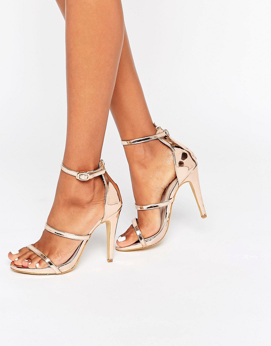 2751c7d0ac9c True Decadence Rose Gold Strappy Platform Heeled Sandals - Lyst