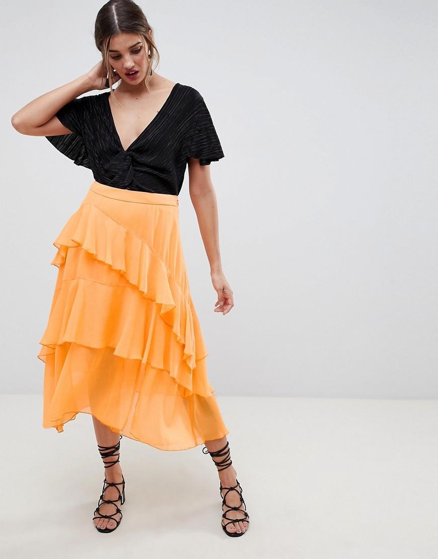 6d8d4228d Falda midi vaporosa ASOS de color Naranja - Lyst
