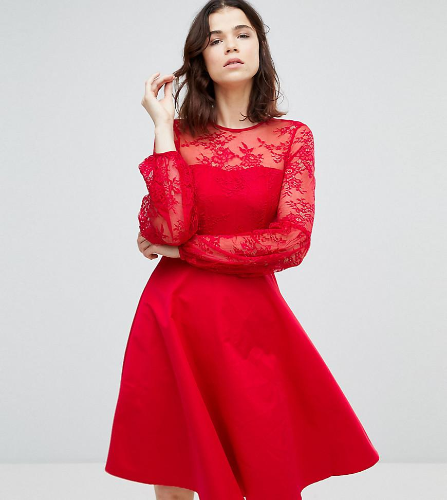 303a633866ad Y.A.S - Lace Top Balloon Sleeve Mini Dress In Red - Lyst. View fullscreen