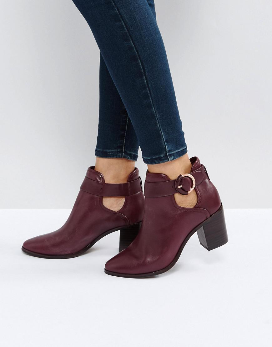 6a5c3e2b65f5 Lyst - Ted Baker Sybell Burgundy Leather Heeled Ankle Boots in Red