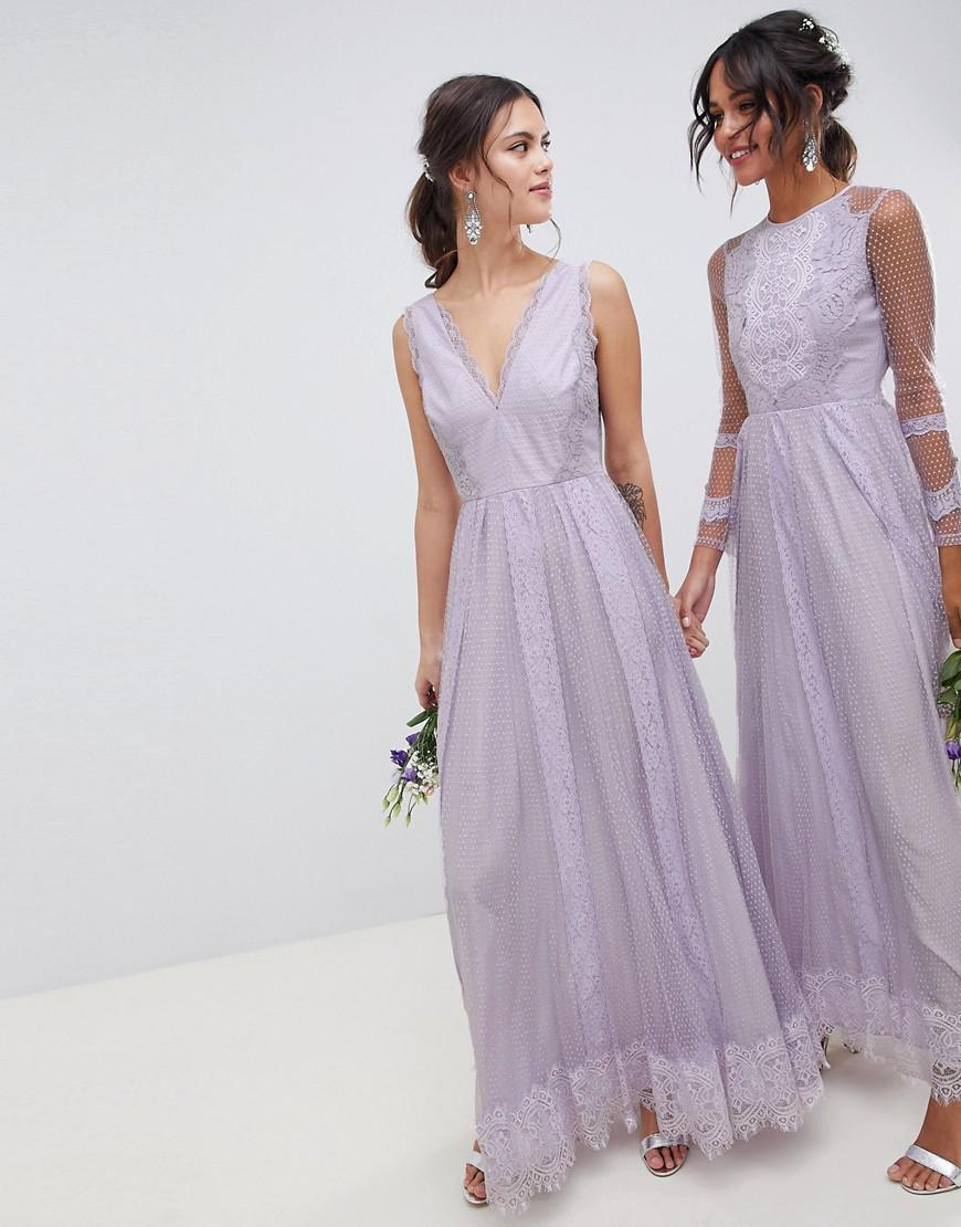 b624d37a8af0 ASOS Dobby Mesh And Lace Mix Sleeveless Maxi Dress in Purple - Lyst