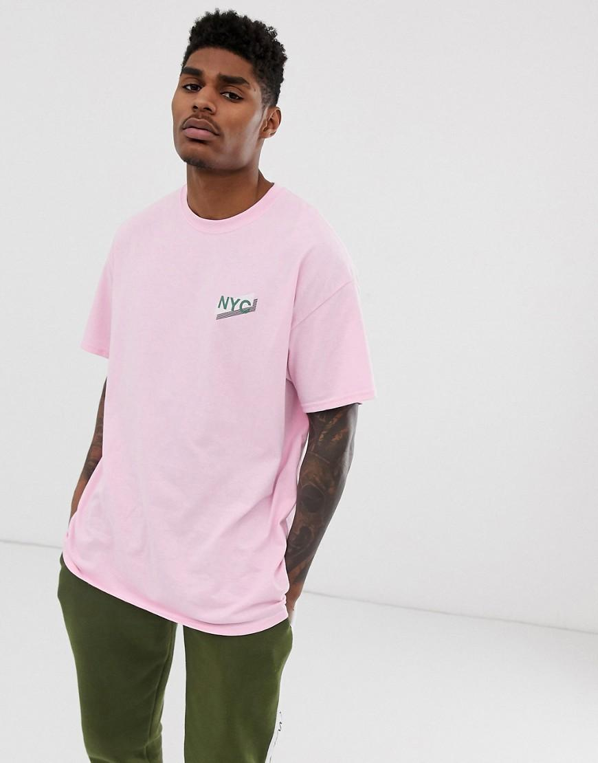 df996287e BoohooMAN Oversized T-shirt With Nyc Print In Pink in Pink for Men ...