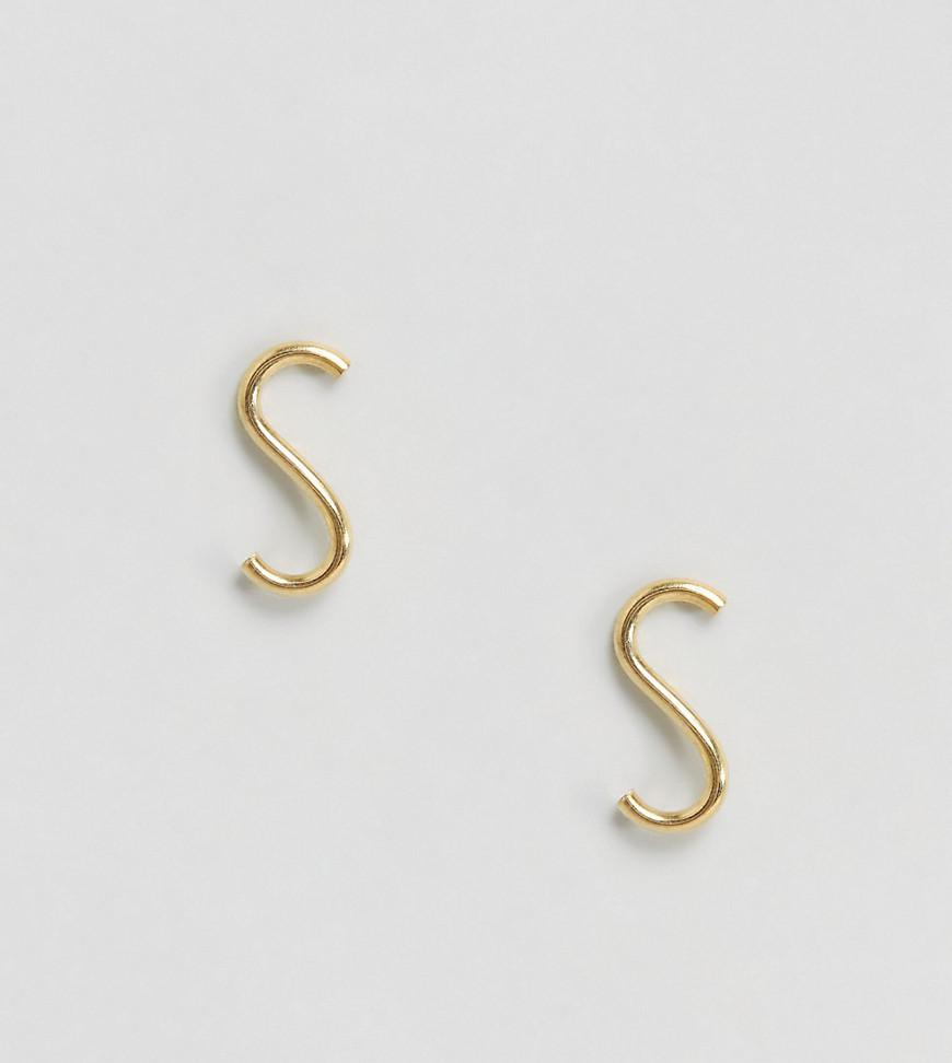 Gold Plated Sterling Silver Sleek Wave Stud Earrings - Gold Asos 2ussT