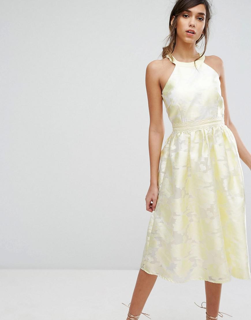 7482fd7d6e600 Lyst - Little Mistress Midi Dress In Summer Jacquard in Yellow