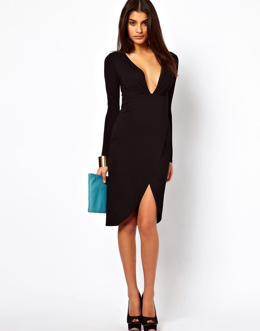 be82bfd1b5 Lyst - ASOS Plunge Wrap Midi Bodycon Dress in Black