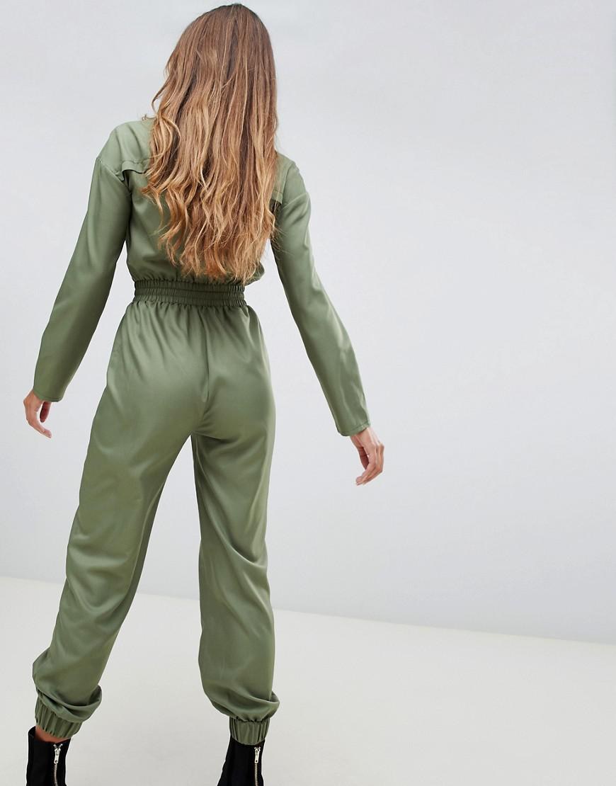 bbc867d3df6 Lyst - PrettyLittleThing Utility Jumpsuit In Khaki in Green