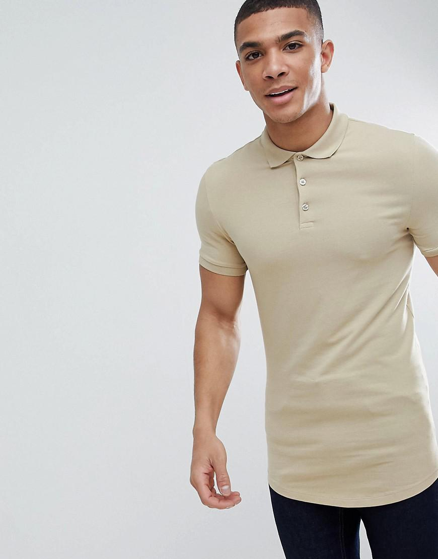 4f98e2a4 ASOS Longline Muscle Fit Jersey Polo With Curved Hem In Beige in ...