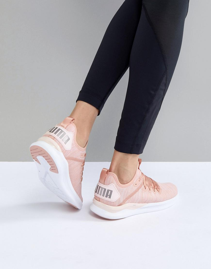 d653be53d3a7 PUMA Running Ignite Flash Evoknit Satin Trainers In Dusky Pink in ...