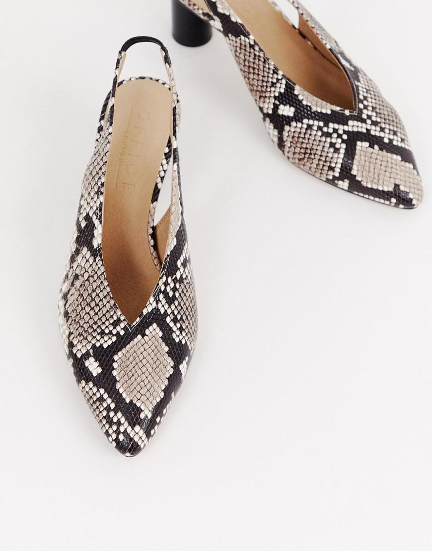 c3747cae530 Lyst - Office Mischief Snake Effect Slingback Heeled Shoes