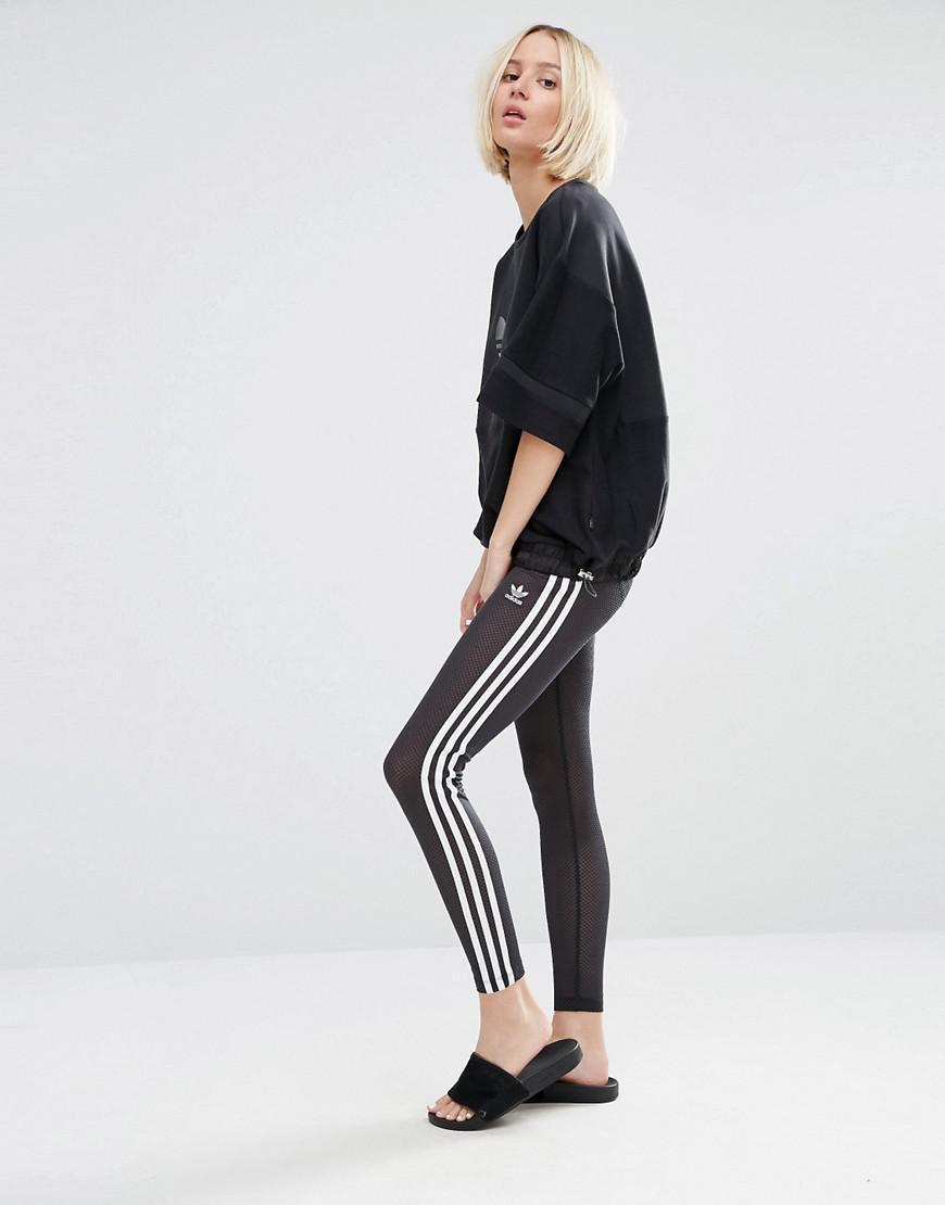 2b2e535e860b69 adidas Originals Mesh Three Stripe Leggings in Black - Lyst