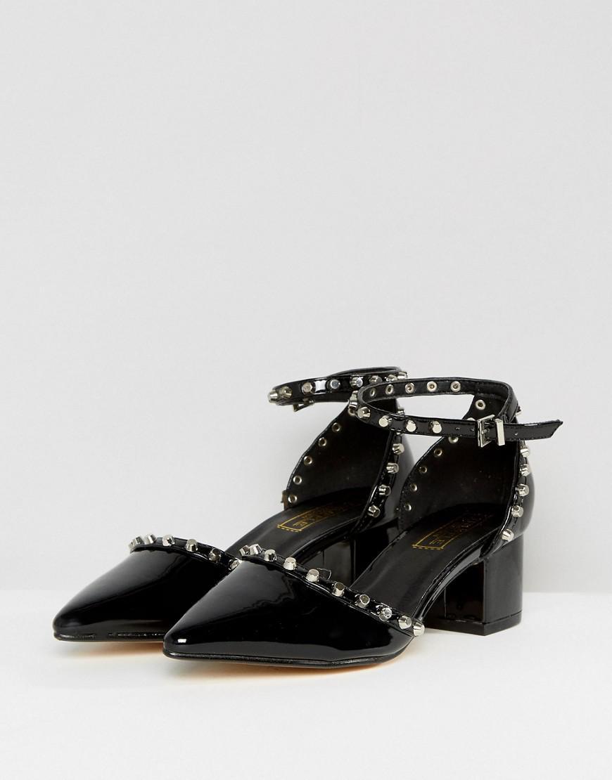 aad88d3e8ea Lyst - Truffle Collection Studded Kitten Heel Shoe in Black