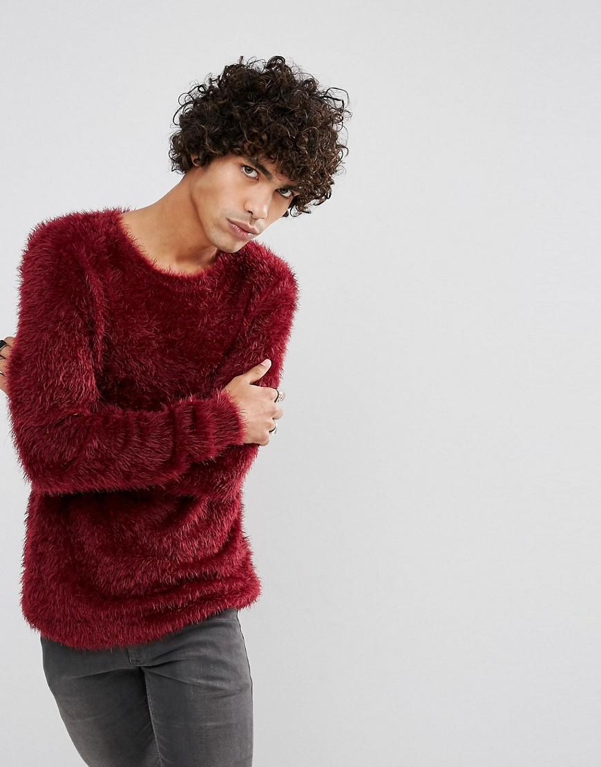 Asos Fluffy Jumper In Red in Red for Men | Lyst