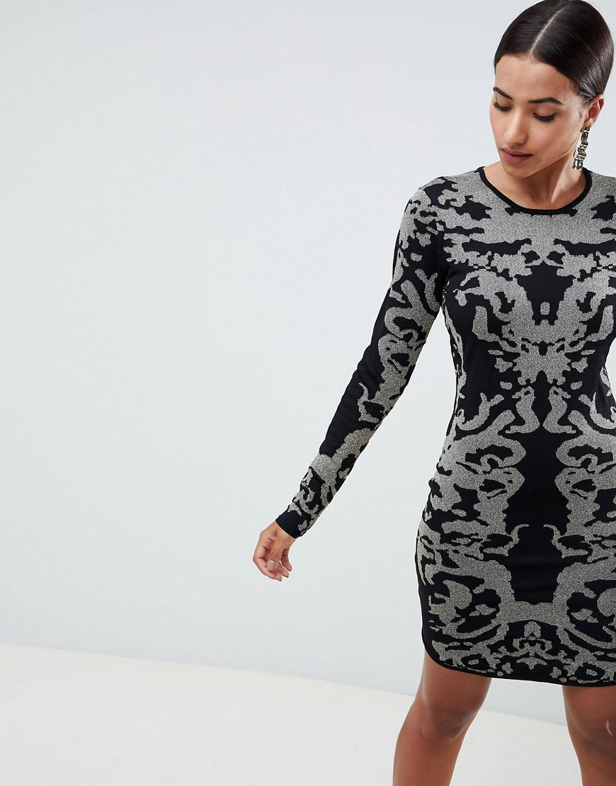 385427cf8d Lyst - Ivyrevel Jacquard Knitted Bodycon Mini Dress in Black