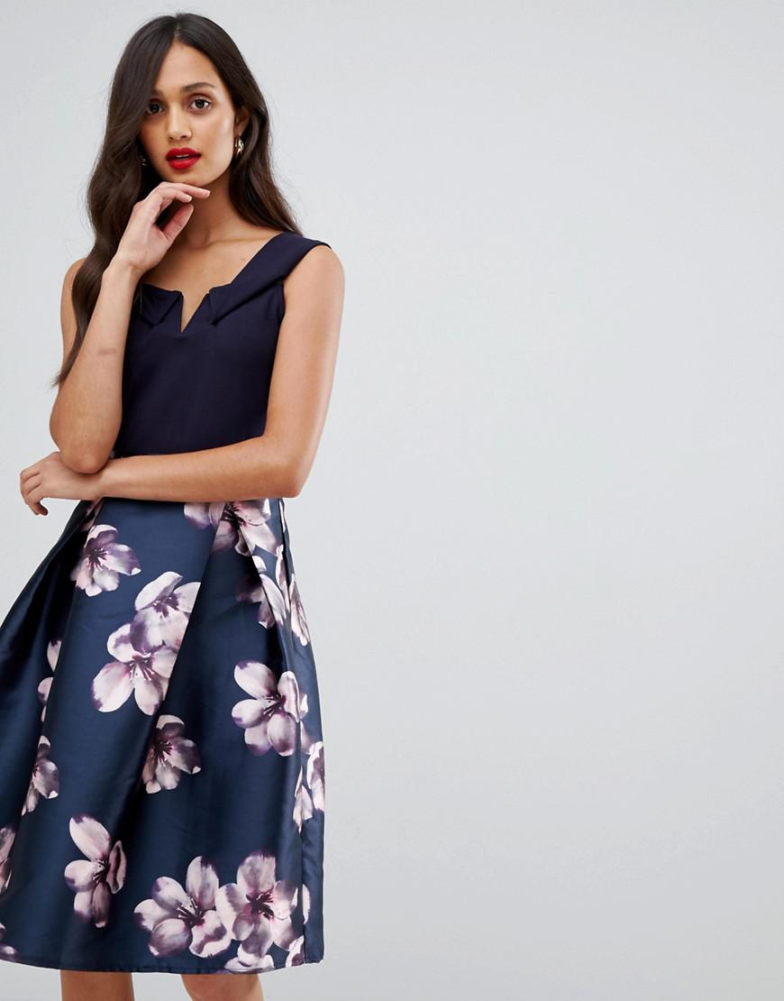 feec09eb87d1 AX Paris Bardot Prom Dress With Contrast Skirt in Blue - Lyst