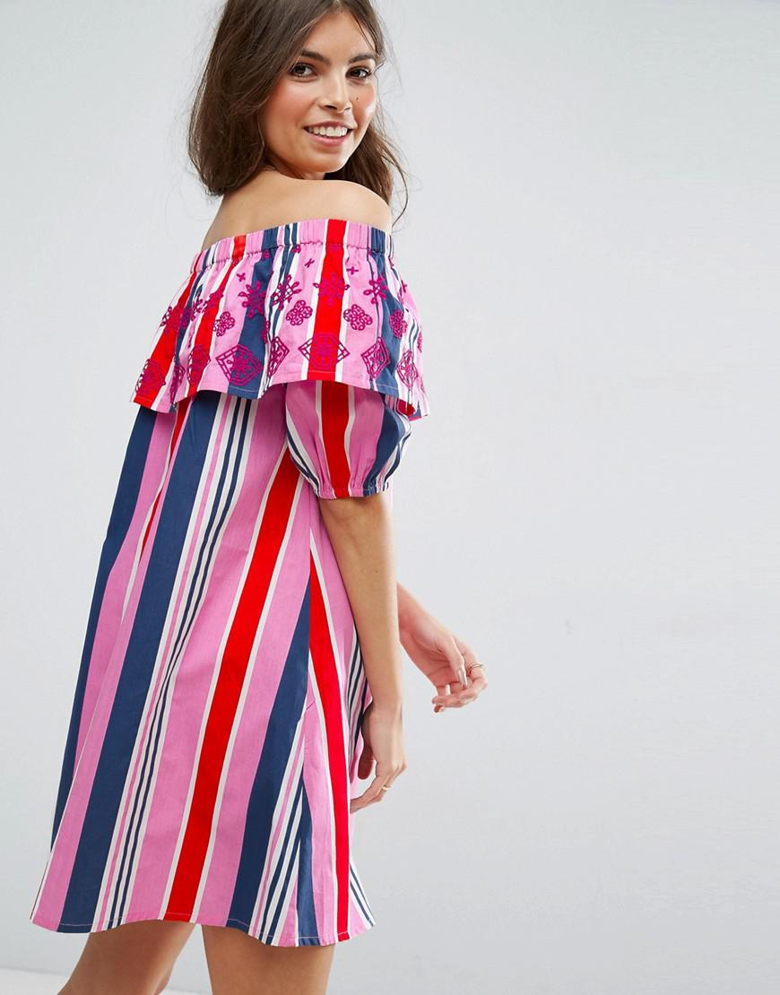 b18dbd600d ASOS Stripe Off Shoulder Dress With Embroidered Ruffle in Red - Lyst
