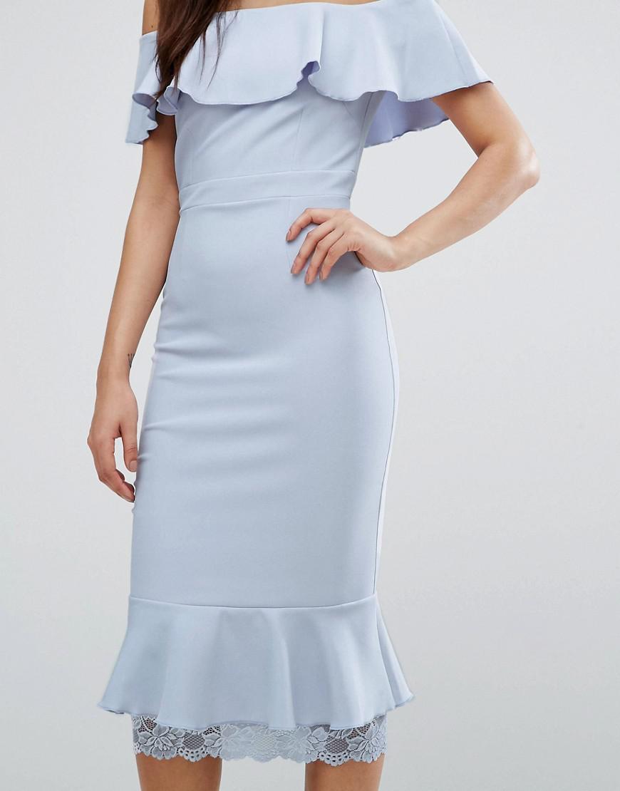 b3f62cdb006a Lyst - Vesper Off Shoulder Frill Pencil Dress With Lace Insert in Purple
